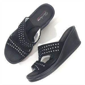 Skechers Black Stud Slide Wedge Sandals Size 8